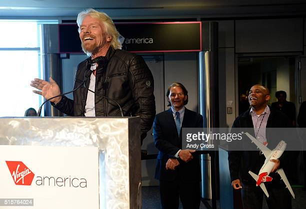 Virgin Group Founder Sir Richard Branson left has a laugh during a press conference along with Denver Mayor Michael Hancock center and Virgin America...