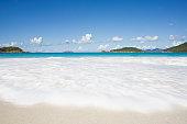 USA, Virgin Islands, St, John, Cinnamon Bay Beach, wave washing on shore