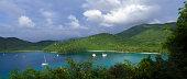 USA, Virgin Islands, St John, Maho Bay, panoramic view