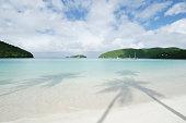 USA, US Virgin Islands, St John, Shadow of palm trees on sandy beach