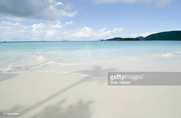 USA, Virgin Islands, St. John, Shadow of palm trees on sandy beach