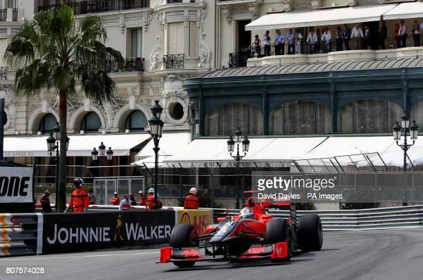 Virgin Racing's Timo Glock goes through Casino Square during third practice at the Circuit de Monaco Monte Carlo