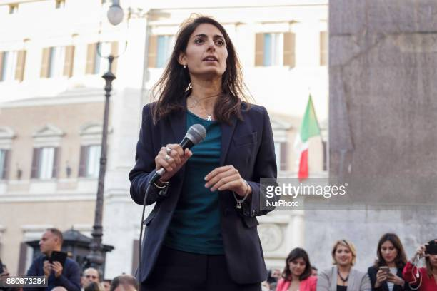 Virgina Raggi Mayor of Rome attends a demonstration in front of the Chamber of Deputies in Montecitorio Square to protest against the proposal of the...