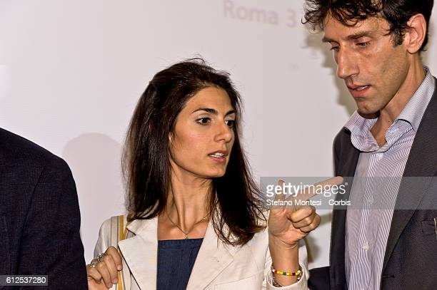 Virgina Raggi Mayor of Rome with Teodoro Fulgione spokesman FOR the mayor during the press conference on the social policies of the City of Rome on...
