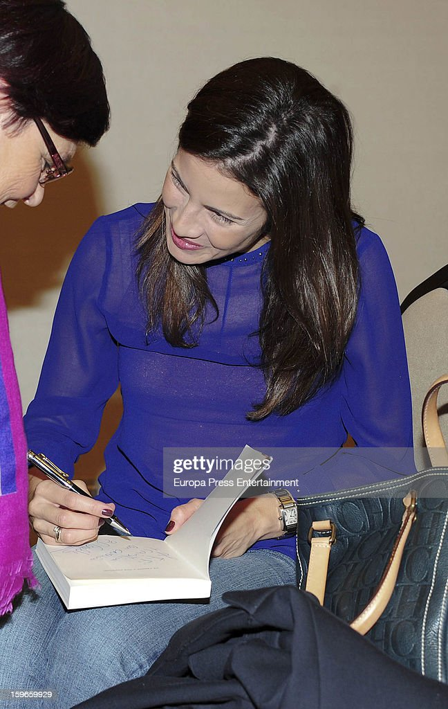 Virgina Troconis attends the event where her husband, the ex bullfighter Manuel Diaz 'El Cordobes' signs copies of his book 'De frente y por derecho' on January 17, 2013 in Malaga, Spain.