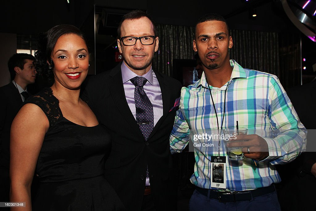 Virginia Araujo, Donnie Wahlberg and Diamantino Araujo attend TNT's 'Boston's Finest' premiere screening at The Revere Hotel on February 20, 2013 in Boston, Massachusetts.