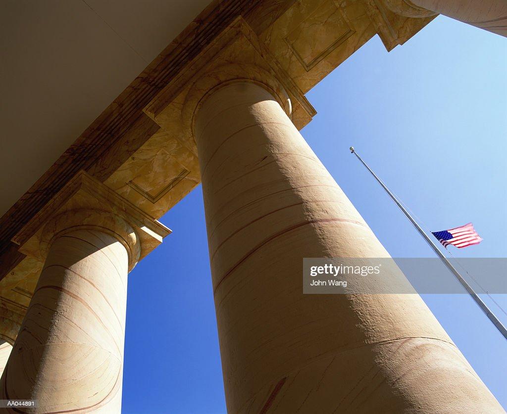 USA, Virginia, Arlington National Cemetery, US flag at half-mast