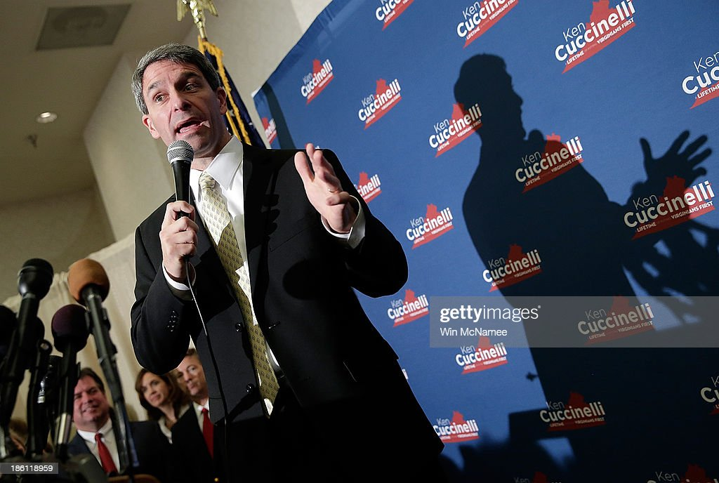 Virginia Attorney General Ken Cuccinelli, the Republican candidate for Governor of Virginia, speaks at a 'Get out the Vote' rally October 28, 2013 in Fairfax, Virginia. Cuccinelli is running against Democratic candidate Terry McAullife in a very close race.