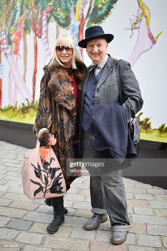 Virginia Bates and designer Stephen Jones (R) during London Fashion Week Fall/Winter 2013/14 at Somerset House on February 16, 2013 in London, England.