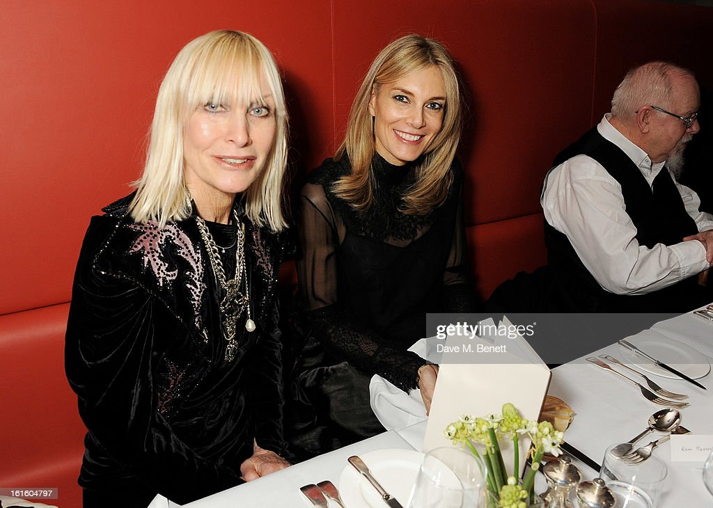 Virginia Bates (L) and Kim Hersov attend a private dinner hosted by Lucy Yeomans celebrating Jason Brooks at Cafe Royal on February 12, 2013 in London, England.