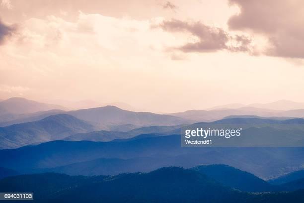 USA, Virginia, Blue Ridge Mountains at twilight