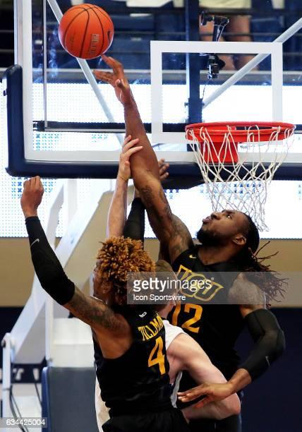 Virginia Commonwealth Rams forward Mo AlieCox blocks a shot during a college basketball game between the Virginia Commonwealth Rams and the George...
