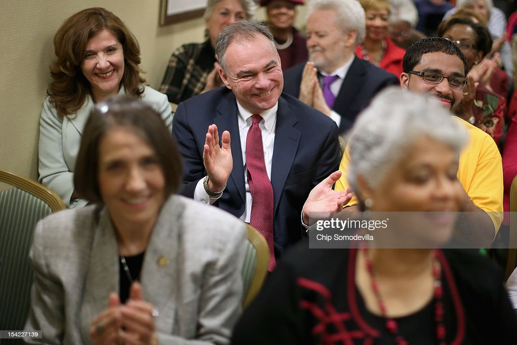 Virginia Democratic candidate for U.S. Senate and former Gov. Tim Kaine (D-VA) (C) holds a town hall meeting with Northern Virginia women about the economy and other issues of importance to women at the Washington Dulles Marriott Airport October 16, 2012 in Dulles, Virginia. Having both previously held state-wide office, Kaine and his opponent Republican candidate and former U.S. Senator and Gov. George Allen (R-VA) were in a statistical dead heat for most of the last year. However, Kaine has pulled ahead in recent polls.