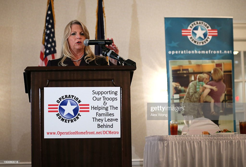 "Virginia first lady Maureen McDonnell speaks during a ""What to Expect"" baby shower August 21, 2012 in Springfield, Virginia. The DC Metro Chapter of Operation Homefront held the event, with parenting and pregnancy workshops, to celebrate with 100 new and expecting military mothers representing each branch of service from DC, Maryland and Northern Virginia."