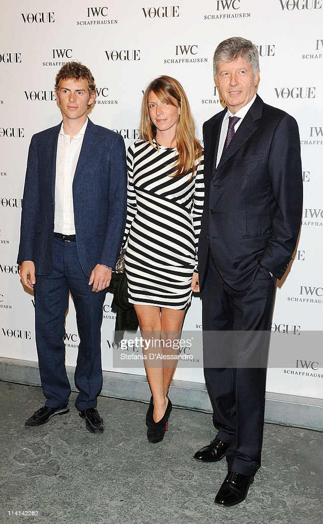 Virginia Galateri Di Genola (C), Gabriele Galateri Di Genola (R) and a guest attend Vogue and IWC present 'Peter Lindbergh's Portofino' at 10 Corso Como on May 12, 2011 in Milan, Italy.