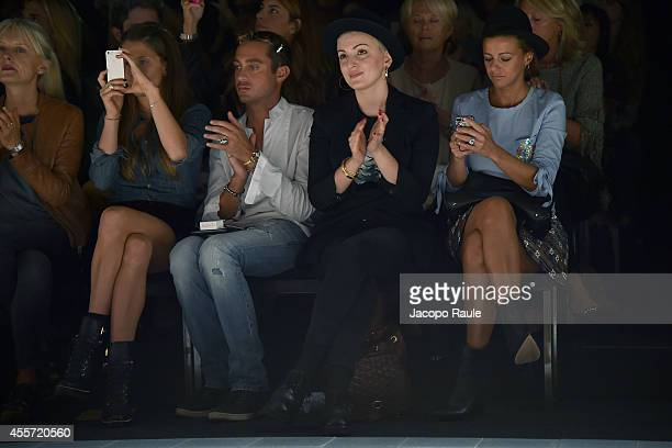 Virginia Galateri di Genola Pietro Tavallini Arisa and Rachele Bastreghi attend Kristina Ti during Milan Fashion Week Womenswear Spring/Summer 2015...