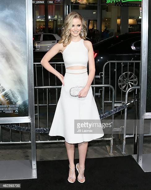 Virginia Gardner attends the Los Angeles premiere of 'Project Almanac' at TCL Chinese Theatre on January 27 2015 in Hollywood California