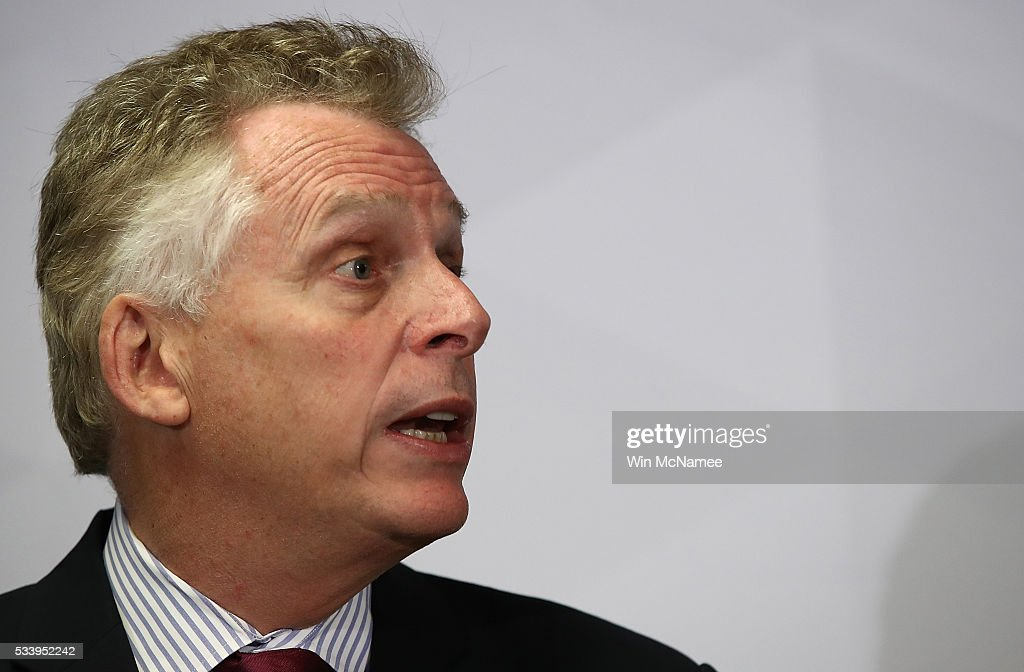 Virginia Gov. Terry McAuliffe speaks during an event at the Alexandria Probation and Parole Office May 24, 2016 in Alexandria, Virginia. After the event, McAuliffe addressed recent allegations that the F.B.I. is investigating donations to his election campaign made by U.S.-based companies controlled by Chinese businessman Wang Wenliang.