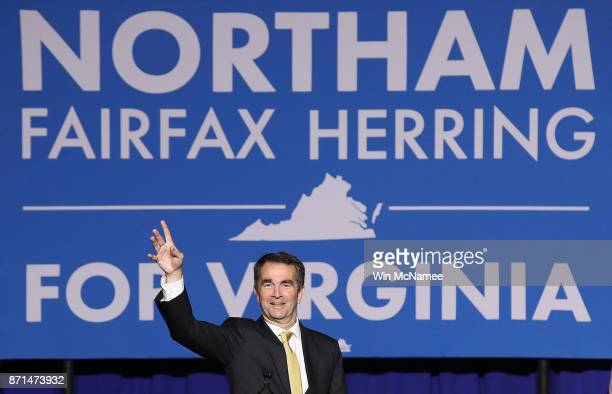 Virginia Govelect Ralph Northam greets supporters at an election night rally November 7 2017 in Fairfax Virginia Northam defeated Republican...