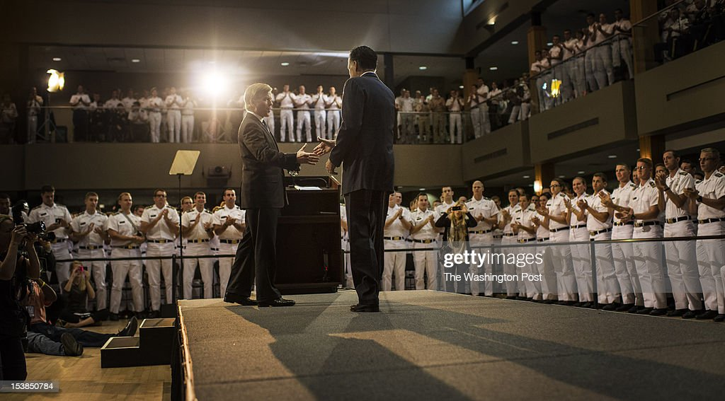 Virginia Governor Bob McDonnell introduces Republican nominee for President Governor Mitt Romney, before he delivering a foreign policy speech, before cadets at Virginia Military Institute, in Lexington, Virginia, on Monday, October, 8, 2012.