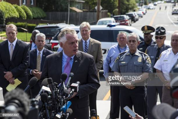 Virginia Governor Terry McAuliffe speaks to members of the press at the baseball field where House Majority Whip Congressman Steve Scalise was shot...
