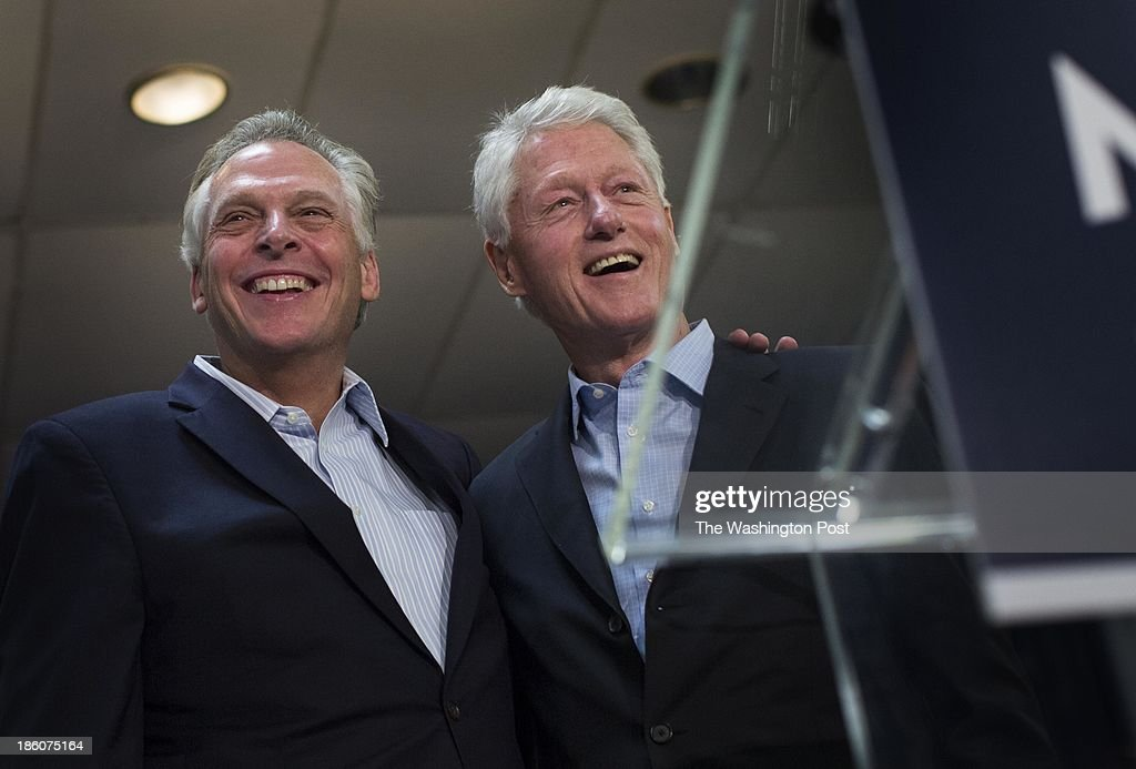 Virginia gubernatorial candidate Terry McAuliffe is joined by President Bill Clinton for an event in Dale City, Virginia on Sunday October 27, 2013. With nine days before election day, McAuliffe and President Clinton will be traveling around the Virginia Commonwealth campaigning through Wednesday.