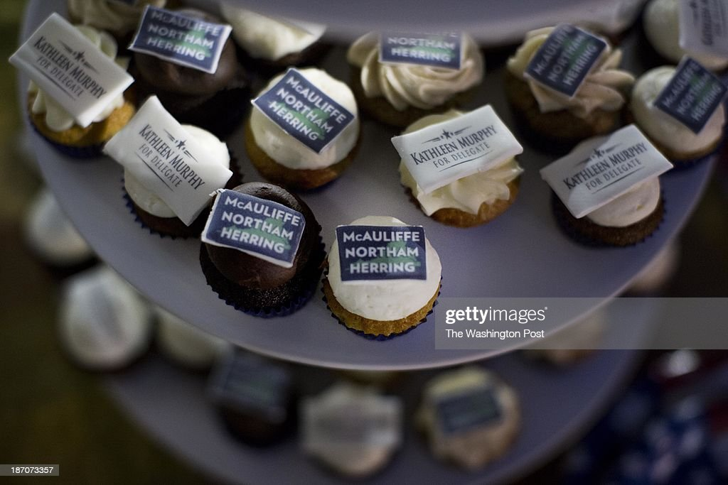 Virginia gubernatorial candidate Terry McAuliffe supporters put out campaign cupcakes at Terry McAuliffe's voting place in McLean, Virginia, on Tuesday, November 5, 2013.