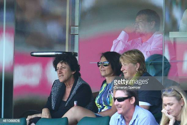 Virginia Hughes and her husband Greg Hughes parents of the late Philip Hughes watch on during day one of the Fourth Test match between Australia and...