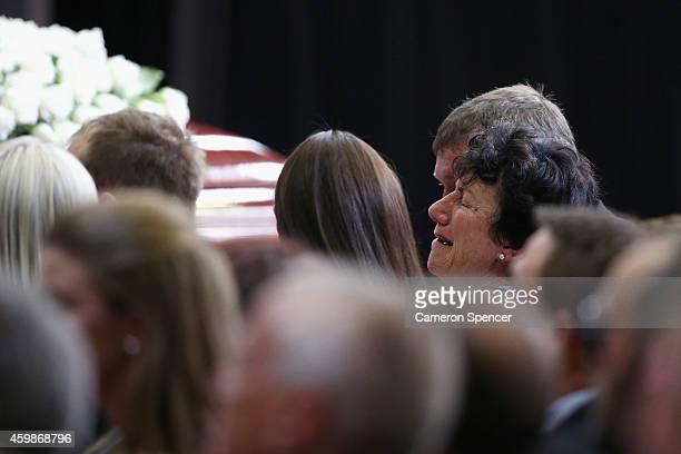 Virginia Hughes mother of Phillip Hughes grieves during the Funeral Service for Phillip Hughes at Macksville High School Stadium on December 3 2014...