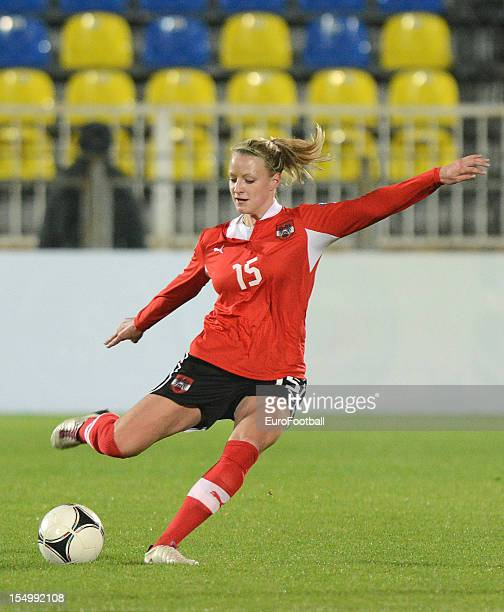 Virginia Kirchberger of Austria in action during the UEFA Women's EURO 2013 playoff second leg match between Russia and Austria held on October 25...