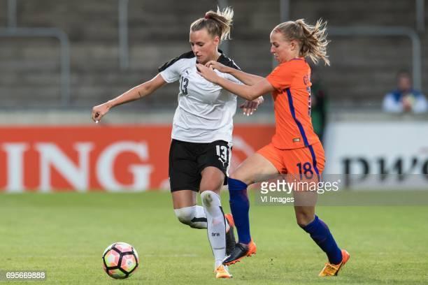 Virginia Kirchberger of Austria Jacky Groenen of the Netherlandsduring the friendly match between the women of The Netherlands and Austria at at The...