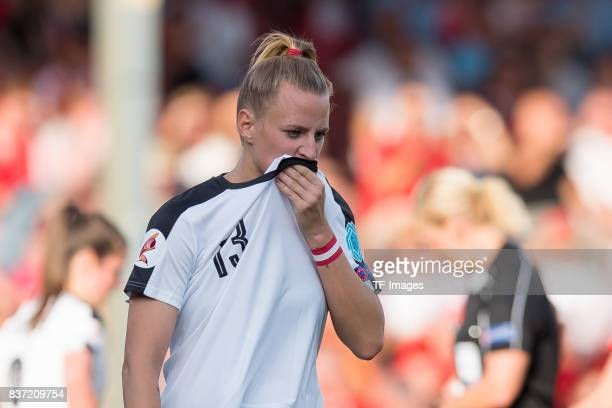 Virginia Kirchberger of Austria looks on n during the Group C match between Austria and Switzerland during the UEFA Women's Euro 2017 at Stadion De...