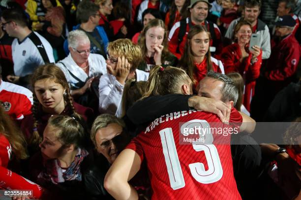 Virginia Kirchberger of Austria reacts after the Group C match between Iceland and Austria during the UEFA Women's Euro 2017 at Sparta Stadion on...
