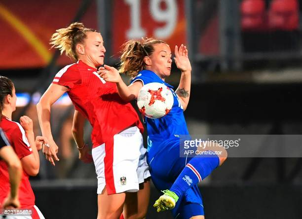 Virginia Kirchberger of Austria vies with Harpa Thorsteinsdottir of Iceland during the UEFA Womens Euro 2017 football tournament match between...