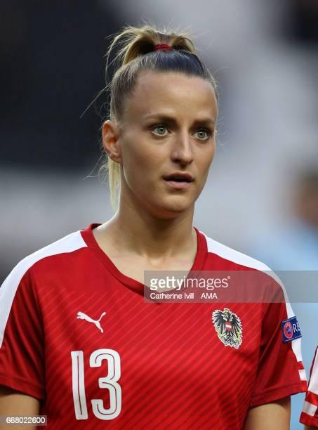 Virginia Kirchberger of Austria Women during the Women's International Friendly match between England and Austria at Stadium mk on April 10 2017 in...