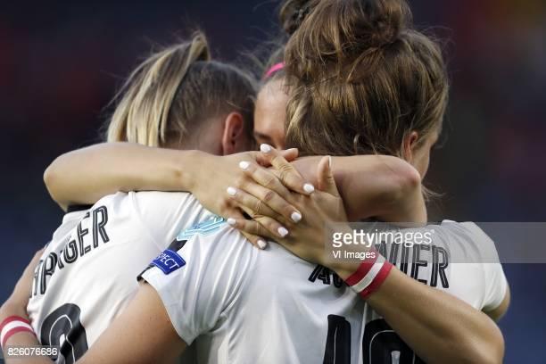 Virginia Kirchberger of Austria women Jasmin Eder of Austria women Verena Aschauer of Austria women during the UEFA WEURO 2017 semifinal match...