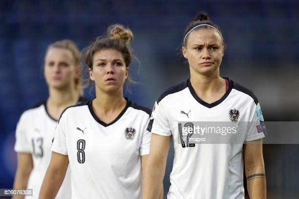 Virginia Kirchberger of Austria women Nadine Prohaska of Austria women Stefanie Enzinger of Austria women during the UEFA WEURO 2017 semifinal match...