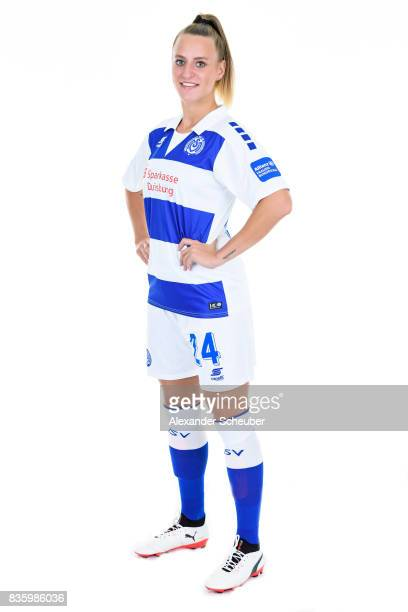Virginia Kirchberger of MSV Duisburg poses during the Allianz Frauen Bundesliga Club Tour at MSV Duisburg on August 17 2017 in Duisburg Germany