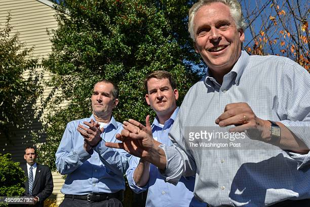 Virginia Lt Governor Ralph Northam L Democratic candidate for Virginia's 29th Senate District Jeremy McPike C and Virginia Governor Terry McAuliffe R...