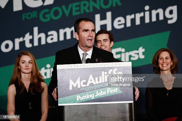 Virginia Lt Governorelect Ralph Northam speaks to the crowd during an election night event November 5 2013 in Tysons Corner Virginia McAuliffe...