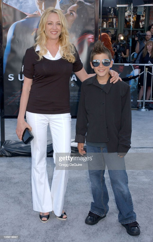 Virginia Madsen and Son during World Premiere of 'Superman Returns' Arrivals at Mann's Village and Bruin Theaters in Westwood California United States