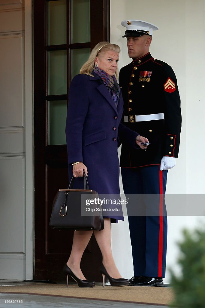Virginia Marie 'Ginni' Rometty leaves the West Wing after attending a meeting with President Barack Obama and other business leaders at the White House November 14, 2012 in Washington, DC. According to the White House, Obama is holding a series of meetings this week with business, labor and political leaders to discuss ways to continue to improve the economy and reduce the deficit.