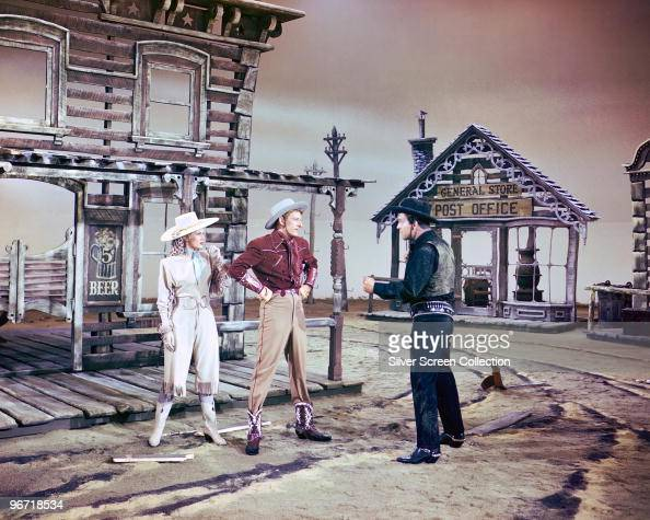 Virginia Mayo and Danny Kaye enact a fantasy western sequence from the film 'The Secret Life of Walter Mitty' 1947