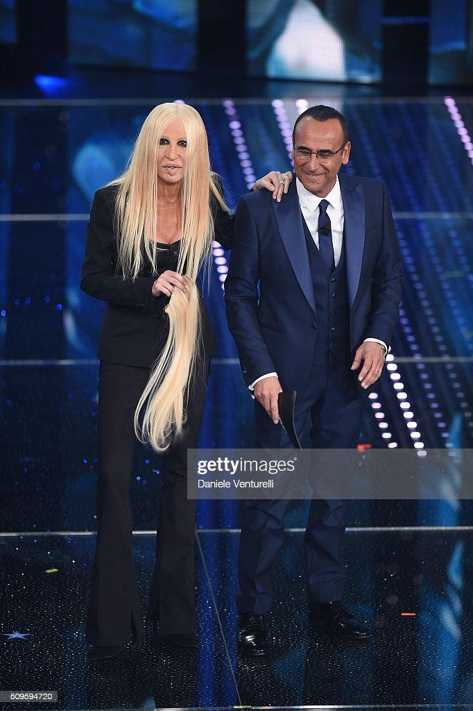 Virginia Raffaele and <a gi-track='captionPersonalityLinkClicked' href=/galleries/search?phrase=Carlo+Conti&family=editorial&specificpeople=4496663 ng-click='$event.stopPropagation()'>Carlo Conti</a> attend the third night of the 66th Festival di Sanremo 2016 at Teatro Ariston on February 11, 2016 in Sanremo, Italy.