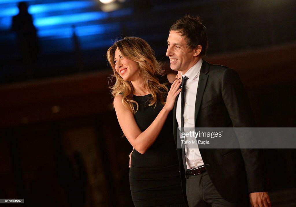 Virginia Raffaele and Ubaldo Pantani attend the Opening Ceremony and 'L'Ultima Ruota Del Carro' Premiere during The 8th Rome Film Festival at...