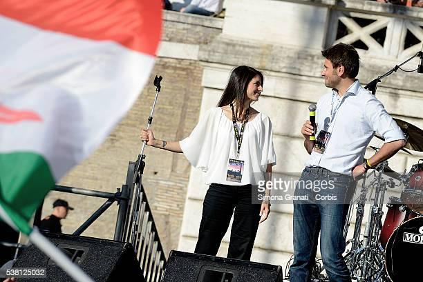 Virginia Raggi and Alessandro Di Battista attend the closing of the electoral campaign of Virginia Raggi for Mayor of Rome standing for the Movement...