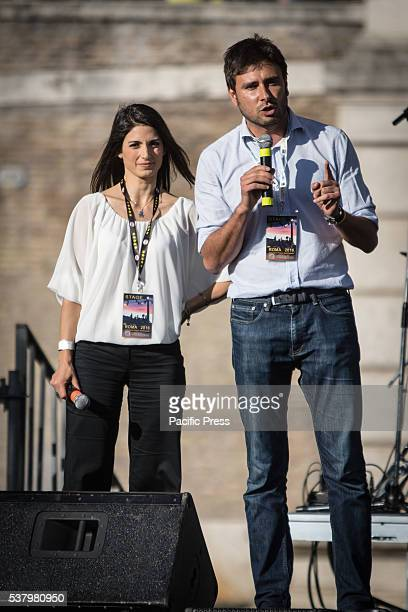 Virginia Raggi and Alessandro Di Battista during the closing act of the electoral campaign of Virginia Raggi in Rome The first round of the Municipal...
