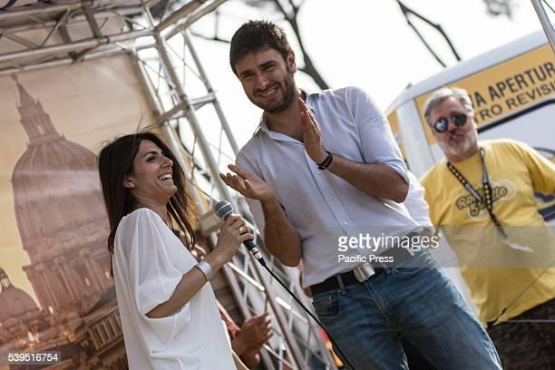 Virginia Raggi and Alessandro Di Battista during the election campaign of Virginia Raggi in Rome