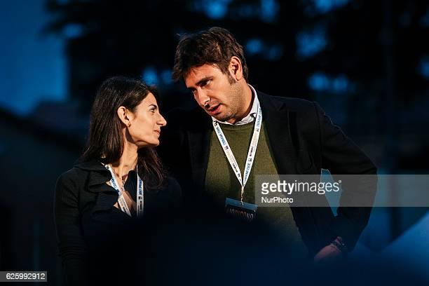 Virginia Raggi and Alessandro Di Battista of the Five Star Movement gather to invoke a NO vote to the upcoming constitutional referendum 26th...