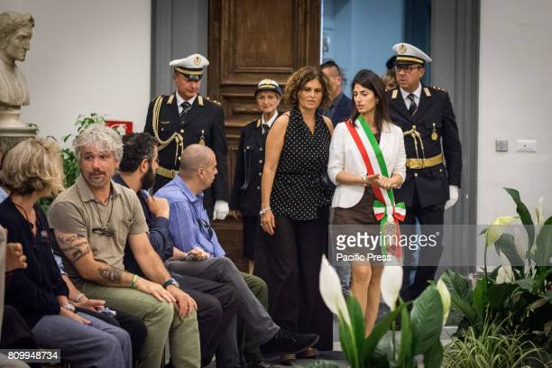 Virginia Raggi during the funeral room for the Italian actor Paolo Villaggio set up in the Sala della Promoteca in Capitol